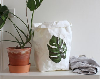 Paper bag storage, Monstera, Botanical print, washable paper bag, Minimalistic, Cheese Plant, Stylish storage, organized home, paper sack