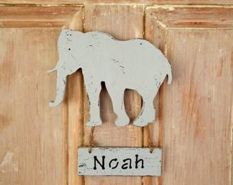 Elephant nursery decor personalized name - elephant nursery personalized name - elephant baby shower gift - baby name sign - door hanger