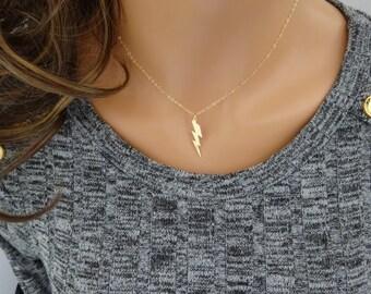 Lightning bolt, Harry Potter Necklace, Gold fill  Lightning Bolt Charm, Dainty Necklace, Charm Necklace