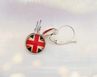Union Jack Earrings, London Jewelry, Drop Earrings, Glass Cabochon Earrings, UK Flag, Great Britain, British Flag Earrings, Love London