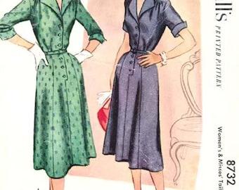Vintage McCalls 1950s Shirtwaist Tailored Dress No. 8732 Size 14 Bust 32