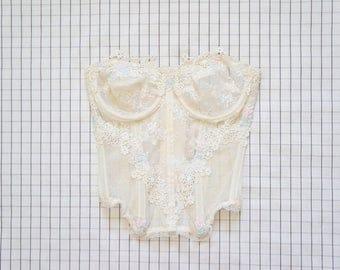 90's lingerie Corset, Pastel Flower Applique Lace Corset, White Sheer Corset, Nightwear, Intimate, Victoria's Secret, Vintage Lingerie, 36
