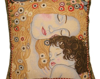 jacquard woven belgian gobelin tapestry cushion pillow cover Les 3 Ages by Gustav Klimt