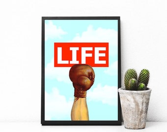 """Boxing glove print, surreal collage art, minimalist art, boxing poster, vintage collage art, mixed media collage art - """"Kick life back""""."""