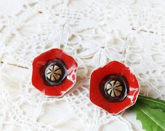 Ceramic Poppy earrings, Poppy jewelry, Natural earrings, Floral earrings, Ceramic jewelry, Gift for her