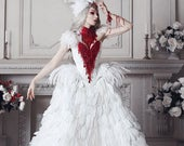 Haute Gothic Wedding Gown ~ Feathers Overbust Corset ~ Bloody Swan Dress Vampire Wedding Ball Masquerade Costume ~ Halloween Outfit Corsets