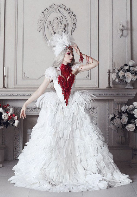 Haute Gothic Wedding Gown Feathers Overbust Corset Bloody