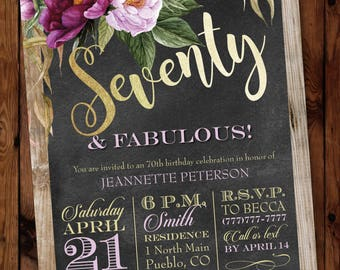 70th Party Invitation, Watercolor Floral Birthday Invitation, 70 and Fabulous Invitations, Surprise Birthday Invite, 40th, 50th, 60th, 80th