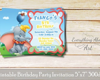 Dumbo invitation, Dumbo birthday, Elephant invitation, Elephant theme birthday party, Baby Elephant invitation, Printable invitation