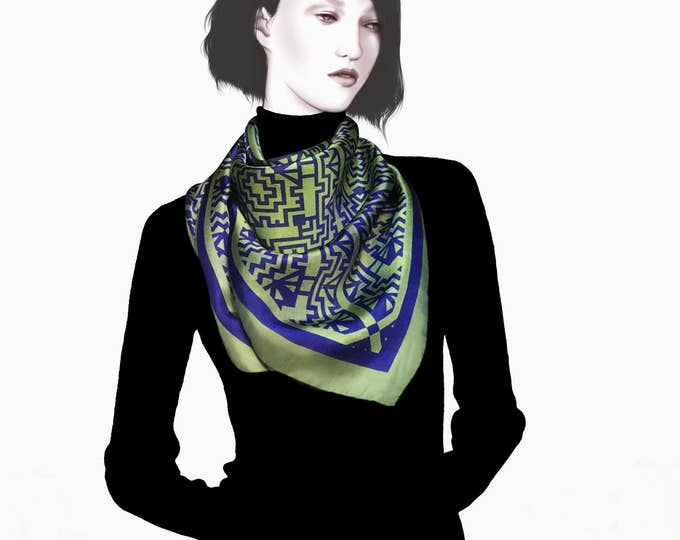 "Featured listing image: Silk scarf ""ETHNIC Ink blue and olive"" 90x90 cm. Carré. Made in Italy. Twill. Neckerchief. Women Accessories. Scarf. Turban."