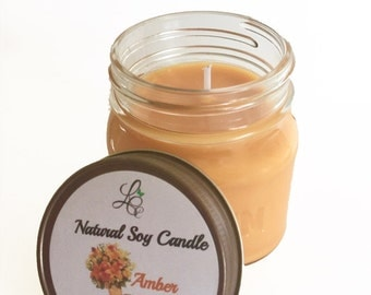 Vegan Candle- Amber Romance-Natural Soy Candle- Country Decor- Holiday Gift- Country Style- Mason Jar- Scented Candle