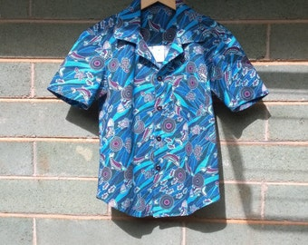 boys shirt size 2 - 16 years  Aboriginal art top/ shirt, boys cotton shirt, boys button up shirt, boys top, boys shirt, boys Summer shirt