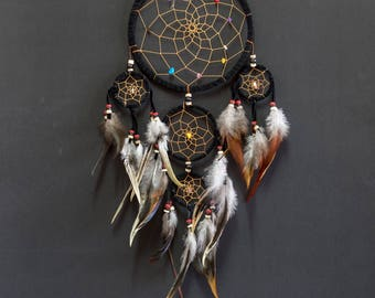 Dream Catcher Black color Wall hanging Home Decoration ornament Bead Feathers Suede Boho dreamcatcher Handmade long 22 Inches