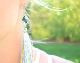 Long Tassel Earrings / Bridal Earrings / Tassel Earrings / Blue stone Earrings / Christmas Gift For Her/ Stocking Stuffers