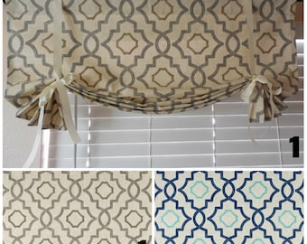 Window curtain tie up valance roll up shade kitchen valance your custom size 2 colors