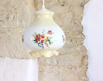 French Floral Pendant Light. Vintage Pearlescent White Glass Pendant Ceiling Light with Flowers : floral pendant light - azcodes.com