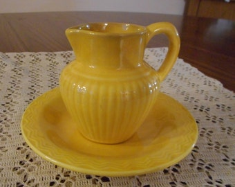 Red Wing Pottery Syrup Pitcher and Saucer
