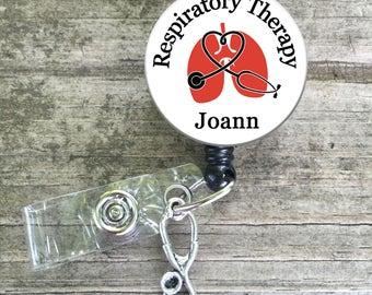 Respiratory Therapy RRT, CRT Custom Badge reel lanyard
