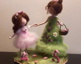 Needle felted Mother and daughter, Waldorf inspired, Customer order, Soft sculpture, Wool art doll, Felted doll, Mother day, Birthday, Gift