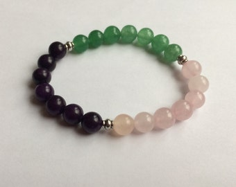 Anxiety Healing Crystal Bracelet with Rose Quartz, Green Aventurine & Fluorite