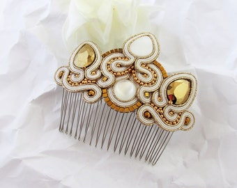 Gold hair comb Wedding hair piece Gift for bride Hair accessories wedding Gold bridal jewelry Soutache Romantic wedding gift for bridesmaid