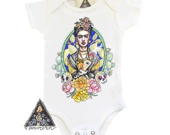 FRIDA skull day of the dead artist bodysuit creeper one piece boho baby clothes / Frida Baby Shower Gift / Newborn bodysuit