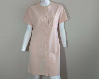 Vintage 60's Mod Dress Scooter Peach Polyester Shift Button Bullocks Wilshire M L
