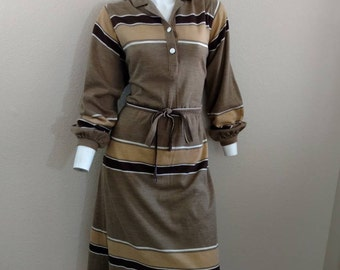 Vintage 70's 80's Shirt Dress Striped Brown Belted Long Sleeve 12 14 XL Plus