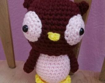 Handmade crocheted, stuffed owl, doll, nursery decor, stuffed animal, kids toys, plush toy, wildlife nature, burgundy and pink