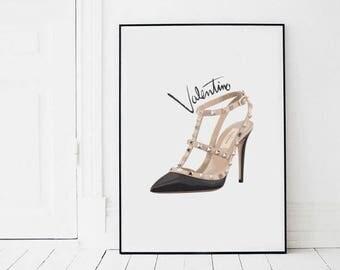 Valentino shoes, Valentino Rockstud, fashion wall art, fashion illustration print, digital download art, printable art, instant download art
