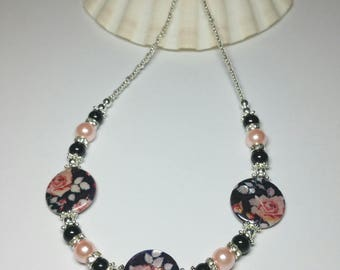 Black Pink Rose Beaded Rhinestone Necklace, Seed Bead Necklace,  Silver Handmade Costume Jewellery, Gift under 30 for Her