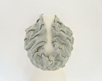 Knit infinity scarf Grey knit snood Gray cable scarf Light gray scarf Oversized loop scarf Knit gray cowl scarf Gray accessories for her