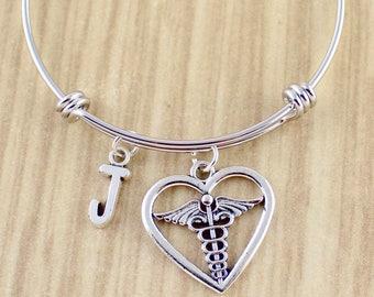 Encircled Heart Caduceus Bangle Bracelet    Caduceus Bracelet   Caduceus Jewelry    Medical Symbol, Nurse Symbol, Doctor Symbol SRA 013803-F