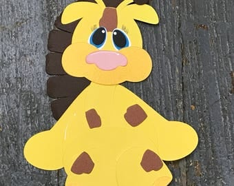 Baby Zoo Animal Giraffe Handmade Cut Out Paper Scrapbook Embellishment Gift Package Tag