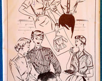 "Rare vintage 1950's set of three button front blouses shirts sewing pattern - Style 629 - plus size 40"" bust, 34"" waist - 1950s"