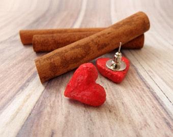 Heart Stud Earrings, Paper Mache Earrings, Heart Earrings, Paper Jewelry, Recycle Jewelry, Women Gift, Gift For Her, Mothers Day Gift