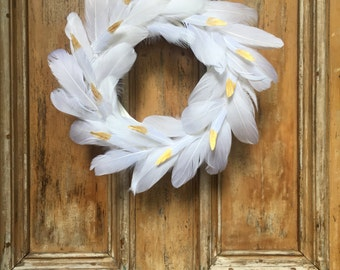 White and Gold Feather Wreath