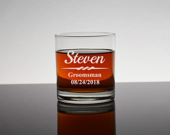 Personalized Rocks Glass, Gifts for Groomsmen, Bourbon Glass, Whiskey Glasses, Personalized Groomsmen Glasses, Bachelor Party Gifts, RG01