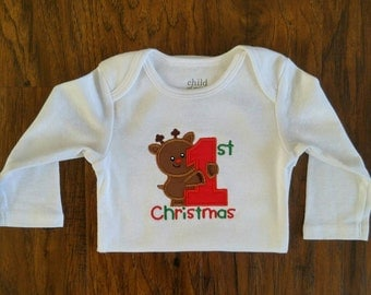 First christmas embroidered baby onesie-embroidered bodysuit-baby's first christmas-baby shower gift-boy or girl onesie-boy or girl bodysuit