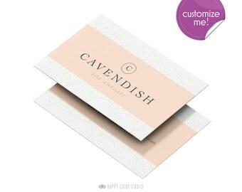 Business Card Design, Modern Minimalist Chic Elegant Branding, Geometric Pink Peach Simple Calling Card, Jeweller Business Card Template