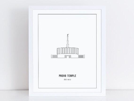 Provo Utah Temple Print Outline Mormon Home Decor LDS