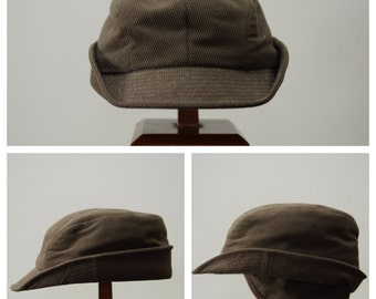 Midcentury Hunting Cap, Corduroy Hat with Ear Flap 1950s 1960s, Fall Winter