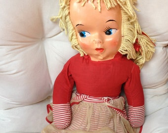 """Vintage Large 36"""" 1950's Mask Doll- Girl in Red with Blond Yarn Hair- Rare find"""
