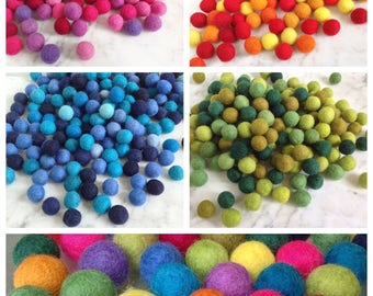 25 or 50 Felt Balls, 20 mm (7/8 in). 2 cm Wool felt beads  100% Wool  Beads. Pom poms for crafting, mobile, garland, toys.