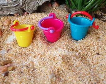 Fairy garden sand pail, miniature sand pail, dollhouse beach bucket, miniature Beach, fairy Beach, Beach fairy, mini sand pail