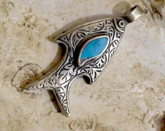 Fish Pendant, Tribal Pendant, Turquoise Pendant, Turquoise Pendant, Ethnic Necklace, Tribal Jewelry, Tibet, Nepal Jewelry (P1)