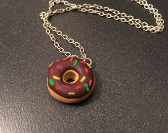 donut necklace, food jewelry, polymer clay jewelry, donut jewerly, polymer clay donut, kawaii necklace, miniature food, food pendant, donut
