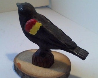 Hand Carved and Hand Painted Red -Winged Blackbird Wooden Decorative Sculpture