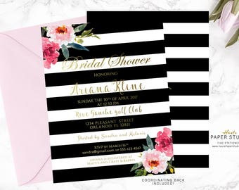 Black Striped Gold Bridal Shower Invitation, Bridal Invitations, Custom Bridal Invite, Shower Invitation, Printable Bridal Invitation, BR003
