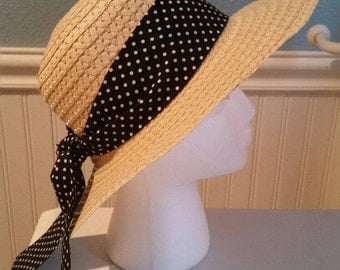 Sun hat with black and small white polka dot hat scarf, straw ribbon, garden hat, beach hat, Easter bonnet, headwear, for her, gift,handmade
